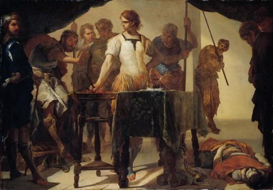 'Gaius_Mucius_Scaevola_Confronting_King_Porsenna',_oil_on_copper_painting_by_Bernardo_Cavallino