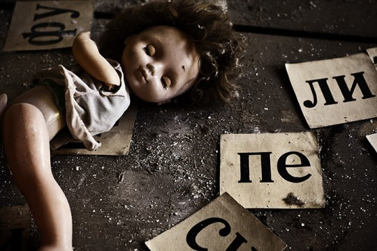 A doll and letters in Pripyat primary school