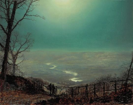 John-Atkinson-Grimshaw-Paintings-Moonlight-Wharfedale-1860s