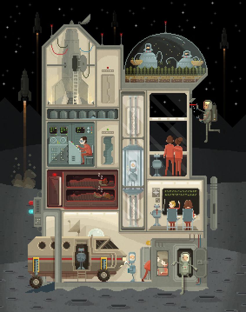 Pixel art illustrations by Octavi Navarro