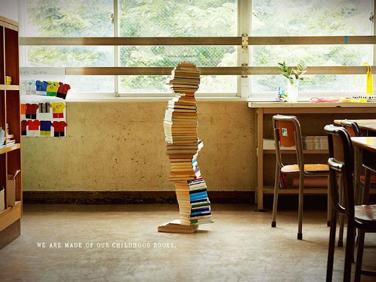child made of books - art